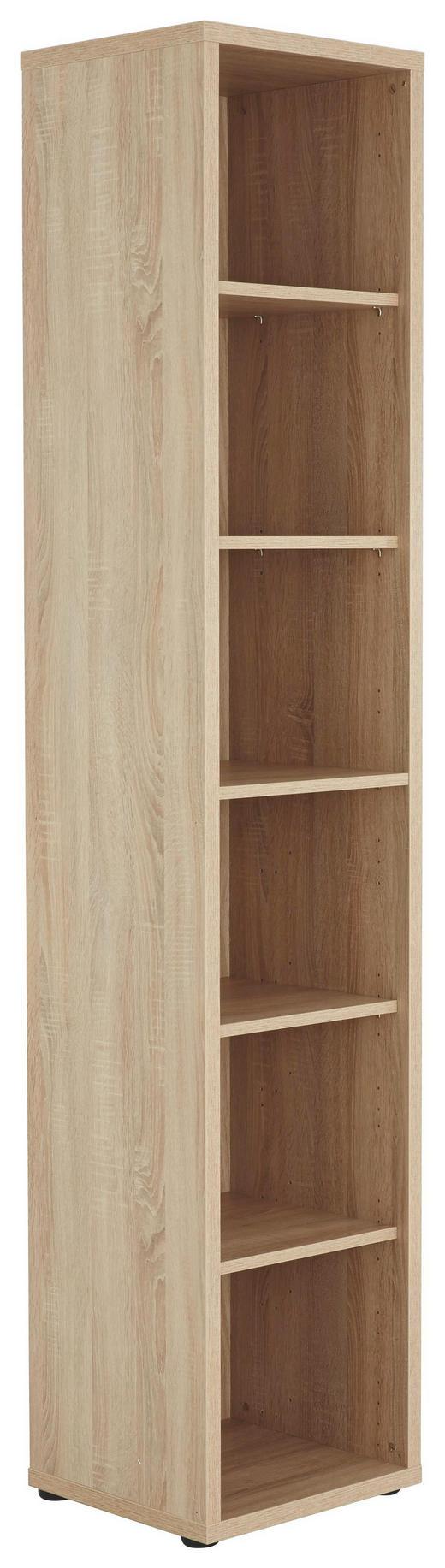AKTENREGAL Sonoma Eiche - Schwarz/Sonoma Eiche, Design, Holzwerkstoff/Kunststoff (43,9/215,2/40cm) - Voleo