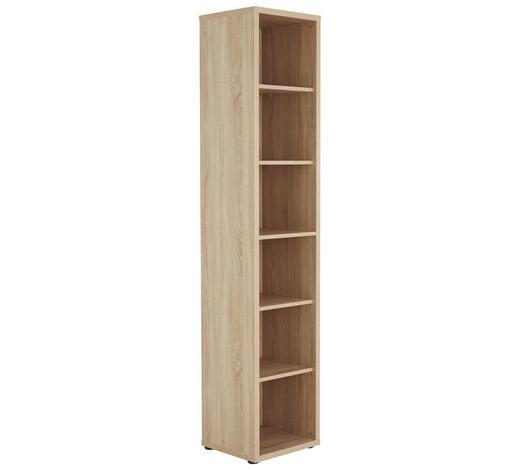 REGÁL NA SPISY, Sonoma dub - černá/Sonoma dub, Konvenční, kompozitní dřevo/umělá hmota (43,9/215,2/40cm) - Voleo