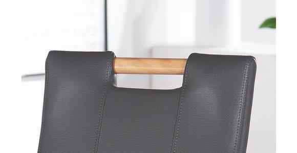 STUHL Lederlook Buche massiv Buchefarben, Grau - Buchefarben/Grau, KONVENTIONELL, Holz/Textil (47/100/64cm) - Cantus