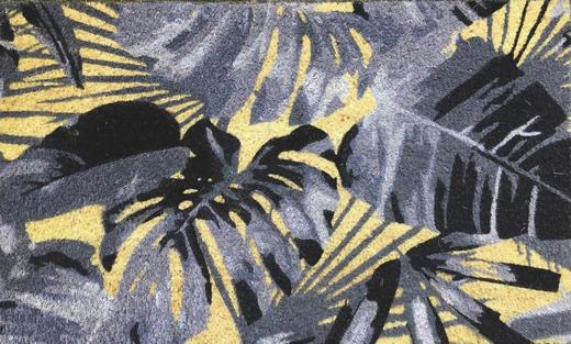 KOKOSMATTE 45/75 cm Blätter Grau, Schwarz - Schwarz/Grau, Basics, Kunststoff/Textil (45/75cm)