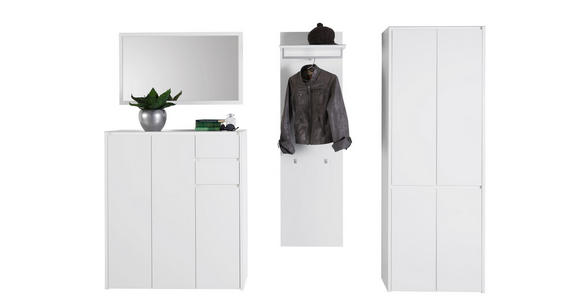 SCHUHSCHRANK 99,7/117,5/34,1 cm - Weiß, Design, Glas/Holzwerkstoff (99,7/117,5/34,1cm) - Voleo