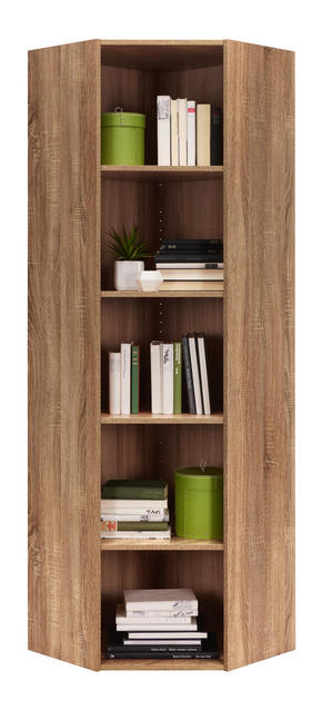 HÖRNHYLLA - Sonoma ek/svart, Design, träbaserade material/plast (59,5/192/59,5cm) - Carryhome