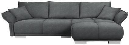 WOHNLANDSCHAFT in Textil Dunkelgrau - Chromfarben/Dunkelgrau, MODERN, Kunststoff/Textil (310/203cm) - Hom`in