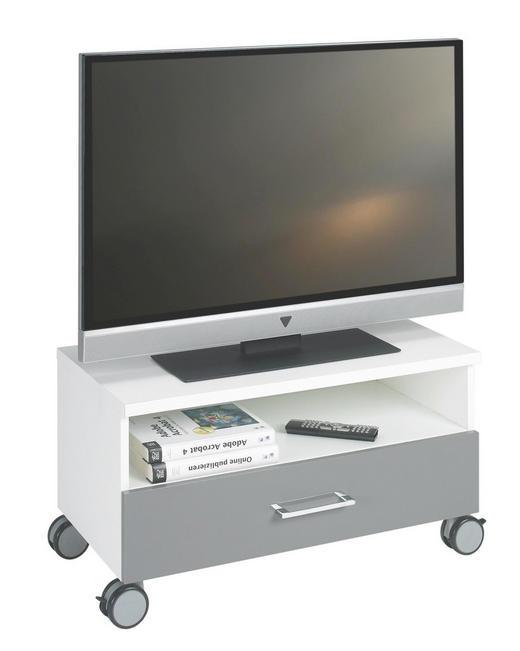 TV-ELEMENT in Grau, Weiß - Chromfarben/Weiß, KONVENTIONELL, Holzwerkstoff/Kunststoff (72,7/40,3/39,5cm) - Welnova