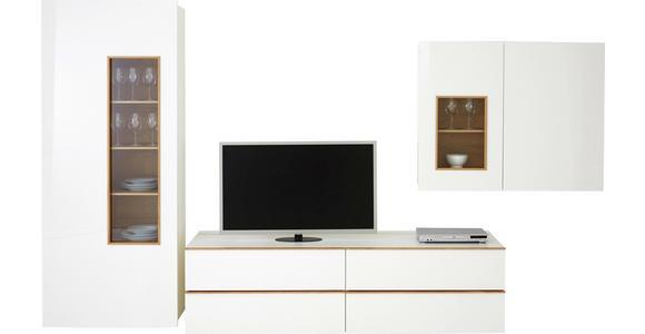 WOHNWAND Nussbaumfarben, Weiß - Nussbaumfarben/Schwarz, Design, Glas/Holz (391,5/205/56,5cm) - Dieter Knoll