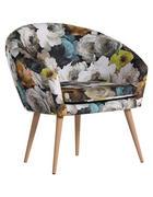 FOTELJ,  rumena, večbarvno tekstil - naravna/rumena, Design, tekstil/les (73/73/43/66cm) - Carryhome