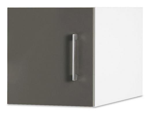 AUFSATZSCHRANK 30/32/57 cm Grau, Weiß - Chromfarben/Weiß, Design, Metall (30/32/57cm) - CARRYHOME