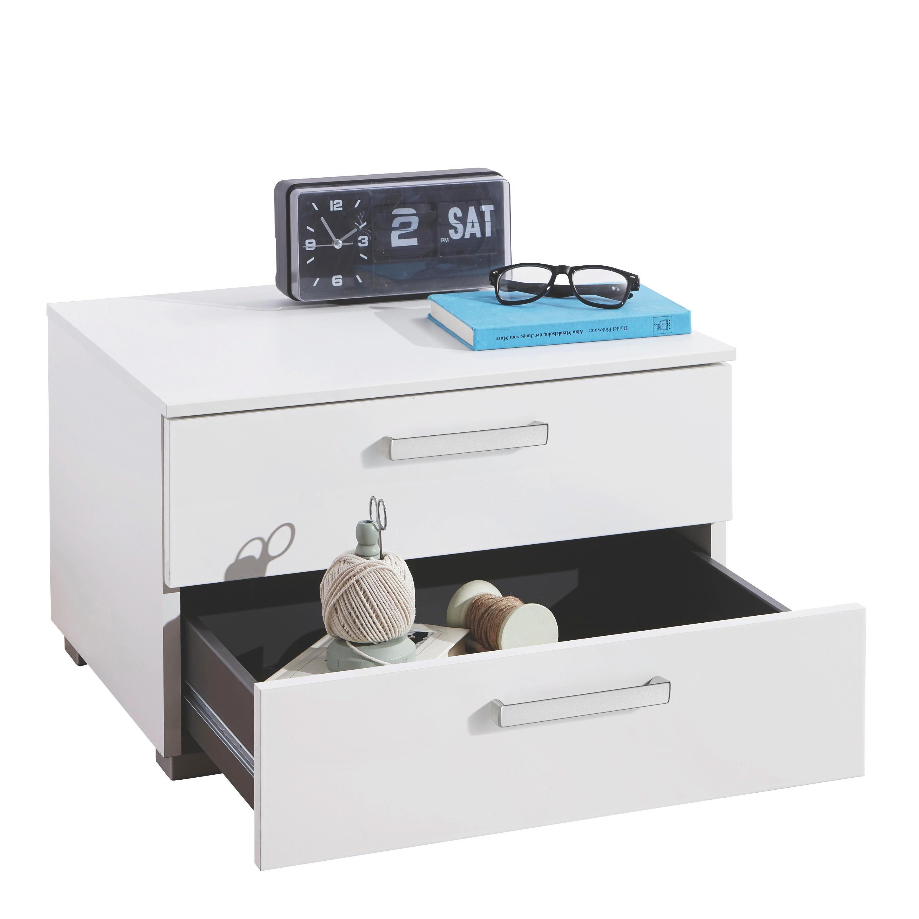 NACHTKÄSTCHEN Hochglanz, Wasserlack Weiß - Alufarben/Weiß, Design, Kunststoff/Metall (55/34/42cm) - HOM`IN