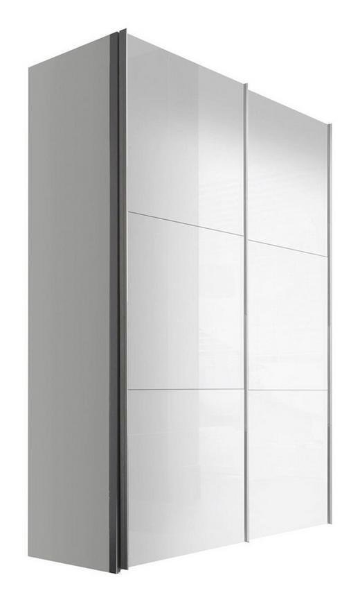 SCHWEBETÜRENSCHRANK 2-türig Weiß - Alufarben/Weiß, KONVENTIONELL, Holzwerkstoff/Metall (150/216/68cm) - Hom`in
