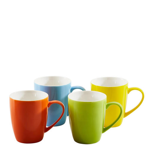 KAFFEEBECHERSET 4-teilig Keramik Porzellan Blau, Gelb, Grün, Rot - Blau/Gelb, Basics, Keramik (300mll) - Homeware