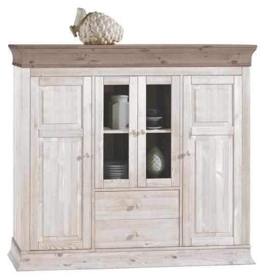 HIGHBOARD Kiefer massiv lackiert Grau, Weiß - Weiß/Grau, Design, Holz (156,5/141/45cm) - Carryhome