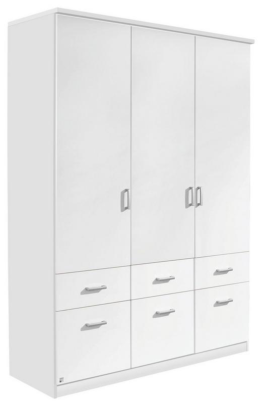 KLEIDERSCHRANK 3-türig Weiß - Silberfarben/Weiß, Design, Holzwerkstoff/Kunststoff (136/197/54cm) - Carryhome