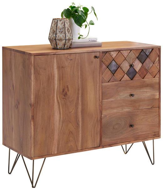 KOMMODE Akazie massiv Akaziefarben, Bronzefarben - Messingfarben/Bronzefarben, Trend, Holz/Metall (105/88/40cm) - Ambia Home