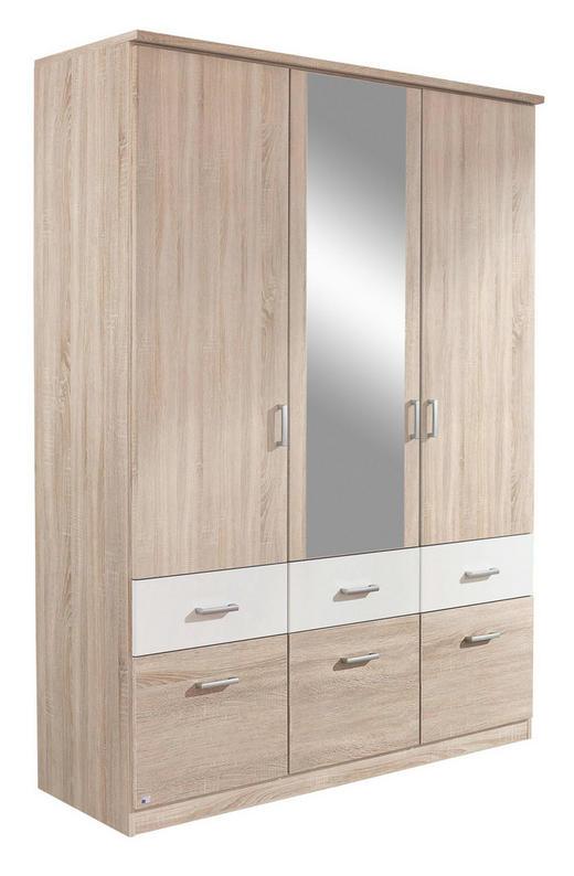 KLEIDERSCHRANK 3-türig Sonoma Eiche, Weiß - Silberfarben/Weiß, Basics, Holz/Kunststoff (136/199/56cm) - Carryhome
