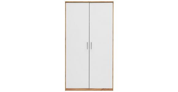 KLEIDERSCHRANK in Weiß, Eichefarben  - Eichefarben/Silberfarben, KONVENTIONELL, Holzwerkstoff/Kunststoff (106/194/54cm) - Xora