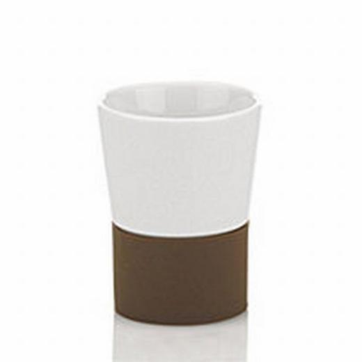 ZAHNPUTZBECHER - Braun/Weiß, Basics, Keramik (7.5/9.5cm)