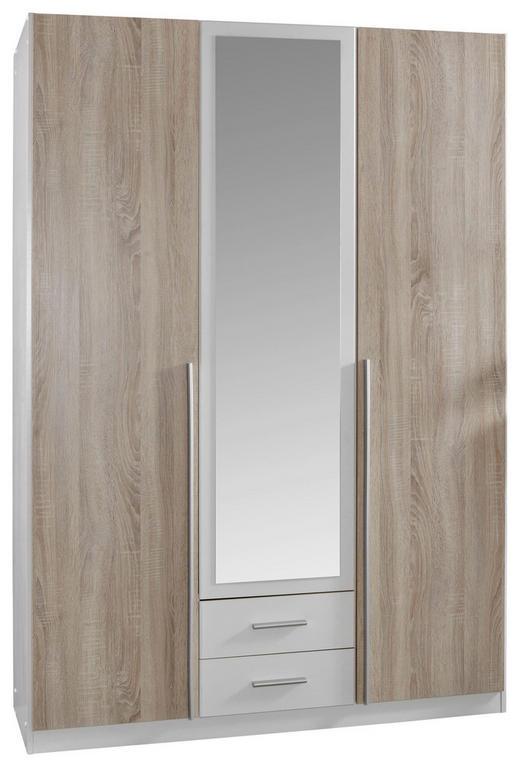 DREHTÜRENSCHRANK 3-türig Eichefarben, Weiß - Eichefarben/Alufarben, Design, Holzwerkstoff/Kunststoff (135/198/58cm) - Carryhome