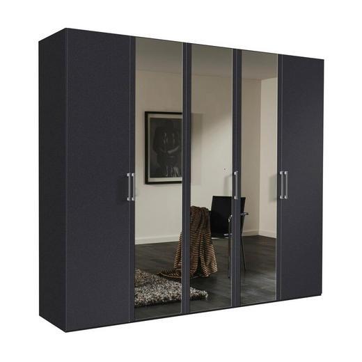 DREHTÜRENSCHRANK 5  -türig Graphitfarben - Graphitfarben/Alufarben, KONVENTIONELL, Glas/Holzwerkstoff (250/216/58cm) - Hom`in