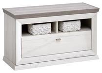 GARDEROBENBANK 85,2/50,5/38,5 cm  - Weiß/Grau, LIFESTYLE, Holzwerkstoff/Metall (85,2/50,5/38,5cm) - Hom`in