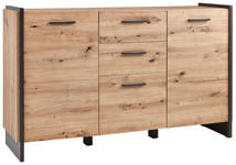 SIDEBOARD Grau, Eichefarben  - Eichefarben/Grau, Design, Holzwerkstoff/Kunststoff (141,8/86,1/41,3cm) - Hom`in
