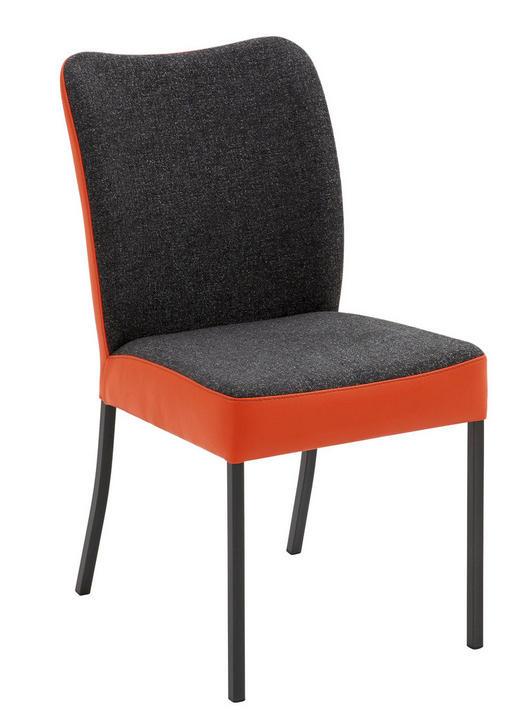STUHL in Metall, Textil, Leder Anthrazit, Orange - Anthrazit/Orange, Design, Leder/Textil (46/89/63cm) - Bert Plantagie