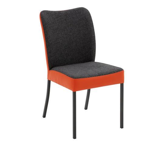 STUHL Webstoff Echtleder Anthrazit, Orange  - Anthrazit/Orange, Design, Leder/Textil (46/89/63cm) - Bert Plantagie