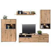 OBÝVACÍ STĚNA, barvy dubu - šedá/černá, Design, kompozitní dřevo/umělá hmota (300/180/50cm) - Hom`in