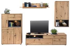 WOHNWAND in Grau, Eichefarben  - Eichefarben/Schwarz, Design, Holzwerkstoff/Kunststoff (300/180/50cm) - Hom`in