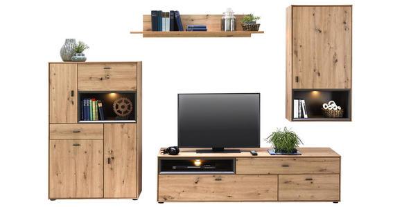 WOHNWAND in Eichefarben - Eichefarben/Schwarz, Design, Holzwerkstoff/Kunststoff (300/180/50cm) - Hom`in