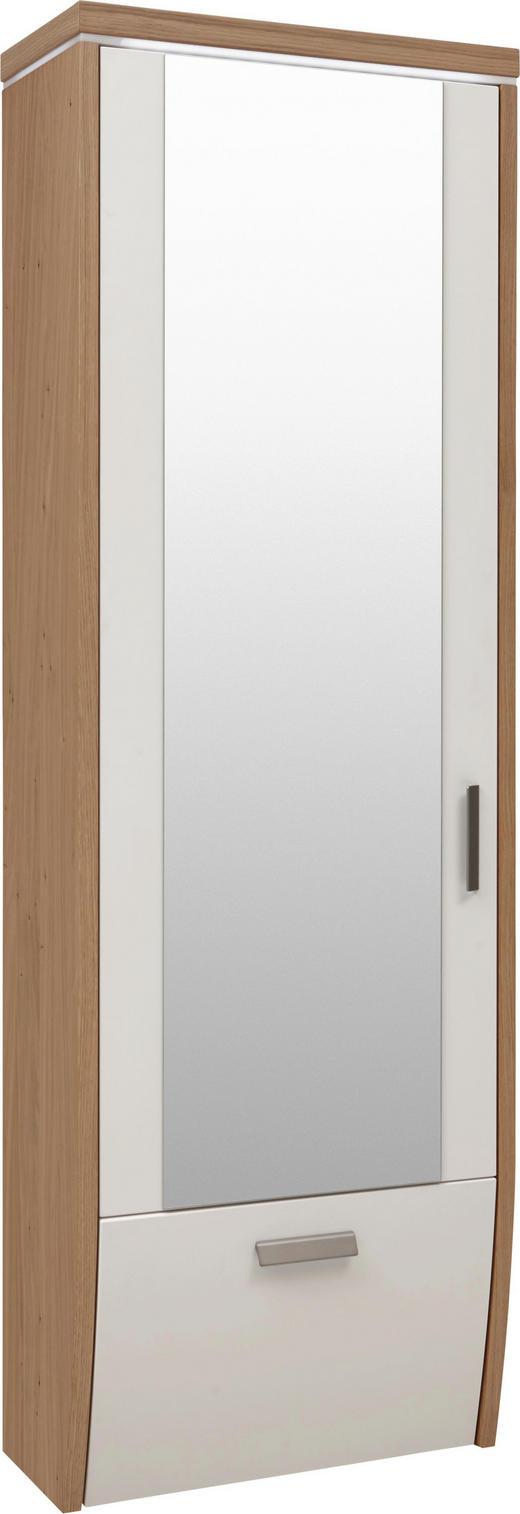 GARDEROBENSCHRANK Wildeiche furniert lackiert, matt Eichefarben, Weiß - Eichefarben/Alufarben, Design, Holz/Metall (62/186/31cm) - Dieter Knoll