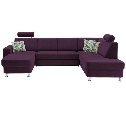 WOHNLANDSCHAFT in Textil Violett  - Chromfarben/Violett, Design, Kunststoff/Textil (165/301/198cm) - Xora