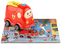 Holzpuzzle mit Feuerwehrauto - Rot/Multicolor, Basics, Kunststoff (14,6/10/15cm) - My Baby Lou