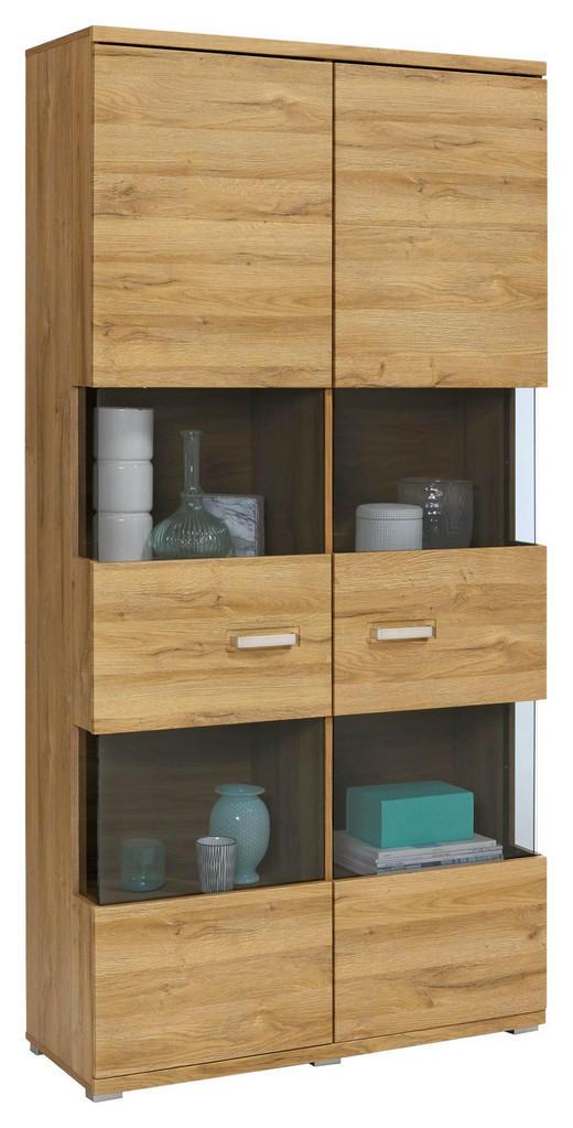 VITRINE Eichefarben - Eichefarben/Alufarben, Design, Glas/Holzwerkstoff (100/200,4/37,2cm) - Set one by Musterrin