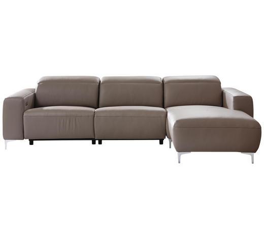 WOHNLANDSCHAFT in Leder Taupe - Taupe/Chromfarben, Design, Leder/Metall (292/177cm) - Pure Home Lifestyle