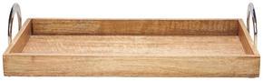 SERVERINGSBRICKA - brun/nickelfärgad, Lifestyle, metall/trä (47/22,5/10cm) - Ambia Home