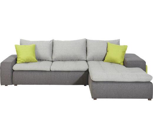 WOHNLANDSCHAFT Grau, Grün, Dunkelgrau Webstoff  - Dunkelgrau/Schwarz, Design, Kunststoff/Textil (285/185cm) - Carryhome