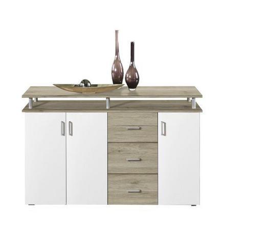 HIGHBOARD Weiß, Eichefarben  - Eichefarben/Alufarben, Design, Holzwerkstoff/Kunststoff (145/90/40cm) - Boxxx