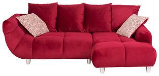 WOHNLANDSCHAFT Samt Plaid, Rücken echt, Rückenkissen - Chromfarben/Rot, Design, Kunststoff/Textil (247/182cm) - Hom`in