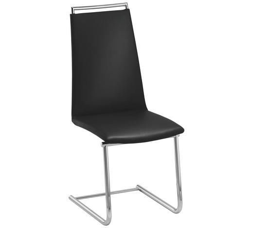 SCHWINGSTUHL in Metall, Leder Schwarz, Chromfarben  - Chromfarben/Schwarz, Design, Leder/Metall (46/104/59cm) - Bacher