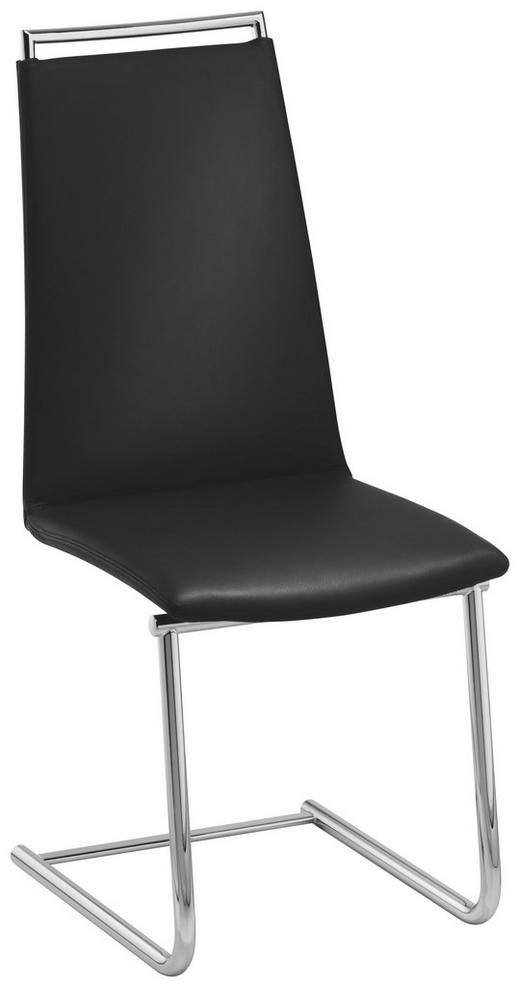 SCHWINGSTUHL Echtleder Chromfarben, Schwarz - Chromfarben/Schwarz, Design, Leder/Metall (46/104/59cm)