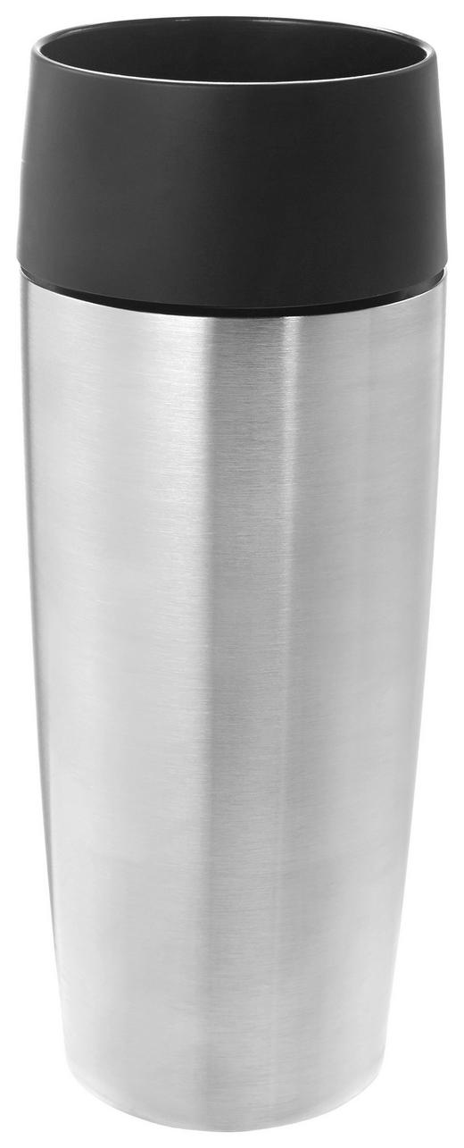 ISOLIERBECHER - Edelstahlfarben/Schwarz, Basics, Kunststoff/Metall (0,36l) - Emsa