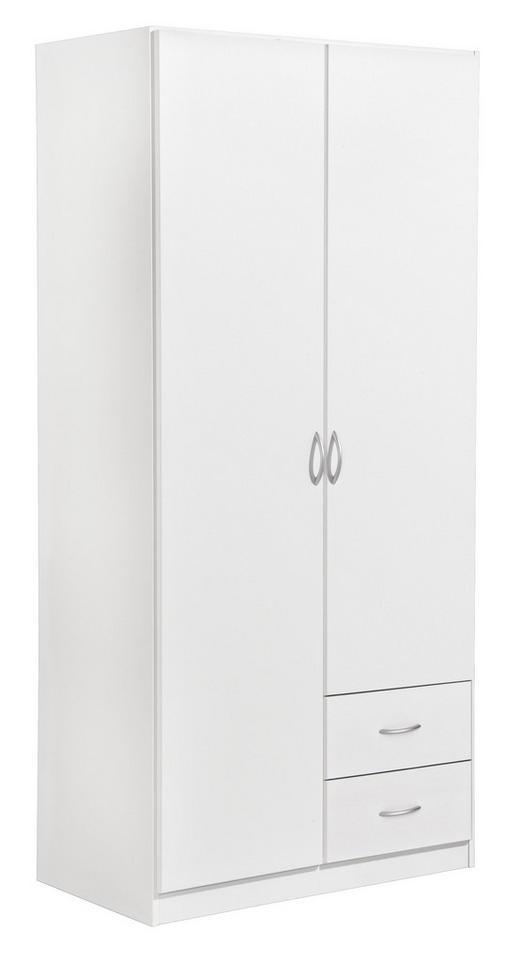 KLEIDERSCHRANK 2-türig Weiß - Silberfarben/Weiß, Design, Holzwerkstoff/Kunststoff (91/197/54cm) - Carryhome