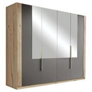 DREHTÜRENSCHRANK in Grau, Eichefarben  - Eichefarben/Alufarben, Design, Glas/Holzwerkstoff (228/213/60cm) - Ti`me
