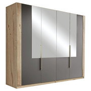 DREHTÜRENSCHRANK in Eichefarben, Grau - Eichefarben/Alufarben, Design, Glas/Holzwerkstoff (228/213/60cm) - Ti`me