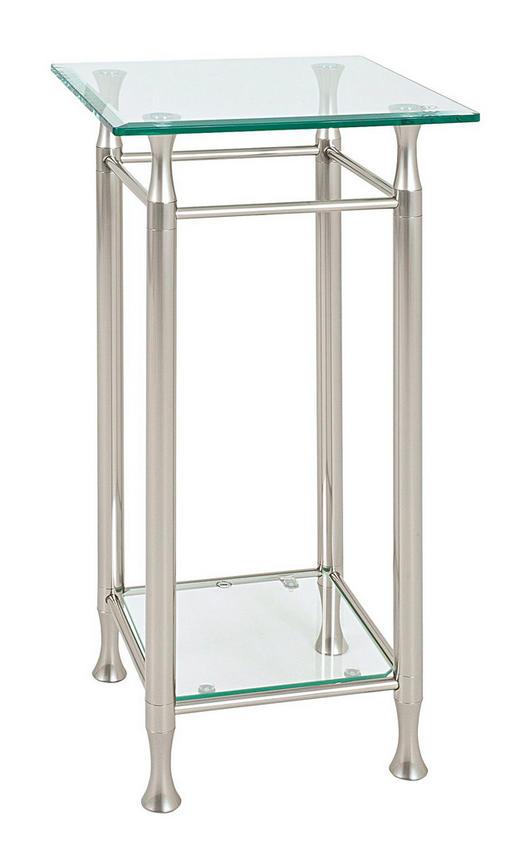 BEISTELLTISCH quadratisch Edelstahlfarben - Edelstahlfarben, Basics, Glas/Metall (35/72/35cm)