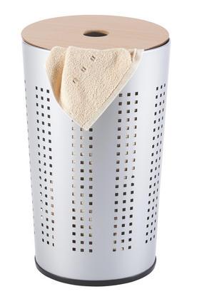 TVÄTTKORG - alufärgad/naturfärgad, Basics, metall/träbaserade material (35/57/30cm) - Xora