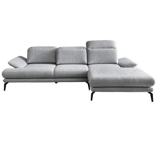 WOHNLANDSCHAFT in Textil Grau - Schwarz/Grau, Design, Textil/Metall (289/183cm) - Stylife