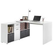 ECKSCHREIBTISCH Weiß - Alufarben/Weiß, Design, Holzwerkstoff/Kunststoff (136/75/137cm) - Carryhome