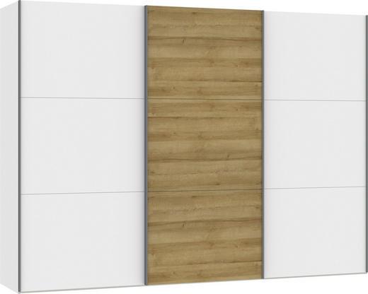 SCHWEBETÜRENSCHRANK 3-türig Eichefarben, Weiß - Eichefarben/Silberfarben, Design, Holzwerkstoff/Metall (303,1/220/65cm) - Jutzler