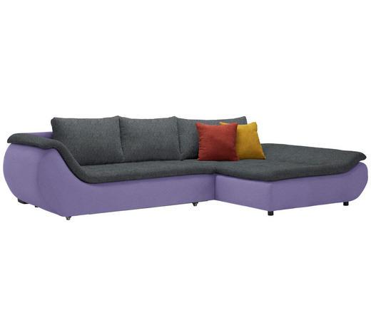 WOHNLANDSCHAFT in Textil Anthrazit, Violett - Anthrazit/Violett, Design, Kunststoff/Textil (310/185cm) - Carryhome